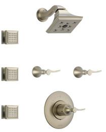 Brizo Sensori Custom Thermostatic Shower  System with Showerhead, Volume Controls, and Body Sprays - Valves Included