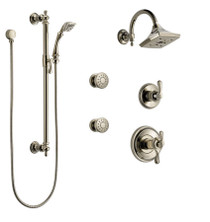 Brizo Thermostatic Shower System with Rain Shower Head, Hand Shower with Slide Bar, 6 Function Diverter, and 2 Body Sprays from the Charlotte Collection