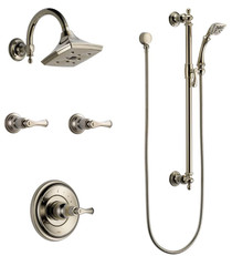 Brizo Sensori Custom Thermostatic Shower System with Showerhead, Volume Controls, and Hand Shower - Valves Included - Charlotte Collection