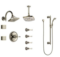 Brizo Sensori Custom Thermostatic Shower System with Wall and Ceiling Showerhead, Volume Controls, Body Sprays, and Hand Shower - Valves Included: Charlotte Collection
