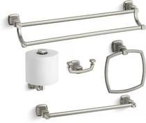 "Kohler 24"" Double Towel Bar, 18"" Towel Bar, Towel Ring, Tissue Holder and Robe Hook"