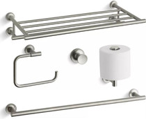 "Kohler Purist 24"" Towel Rack, 24"" Towel Bar, Towel Ring, Tissue Holder and Robe Hook"