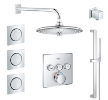Grohe SmartControl Shower System with Shower Head, Body Spray, Shower Arm, Wall Supply Elbow, Hand Shower, Valve Trim, and Rough In