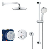 Grohe Grohtherm Thermostatic Shower System with Shower Head, Hand Shower, Slide Bar, Hose, and Valve Trim