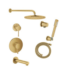 Grohe Essence Pressure Balanced Shower System with Shower Head, Hand Shower, Shower Arm, and Hose - Valves Included