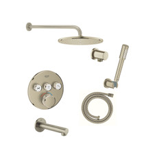 Grohe Grohtherm Thermostatic Shower System with Rain Shower Head, Hand Shower, Shower Arm, and Hose - Valve Included - S
