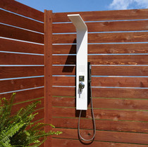 Signature Hardware Carrollton Thermostatic Outdoor Shower Panel with Shower Head, Hand Shower, and Bodysprays
