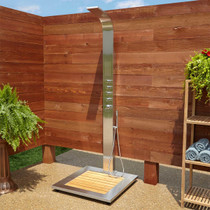 Signature Hardware Alvin Stainless Steel Thermostatic Outdoor Shower Panel with Shower Head, Hand Shower, Bodysprays and Bamboo Tray