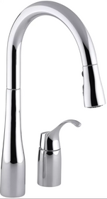 """Kohler Simplice Two-Hole Kitchen Sink Faucet with 16-1/8"""" Pull-Down Swing Spout, DockNetik Magnetic Docking System, and a 3-Function Sprayhead Featuring Sweep Spray"""