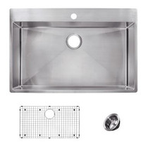 "Franke Vector 33-7/16"" Dual Mount Single Basin 18 Gauge Stainless Steel Kitchen Sink - Sink Accessories Included"