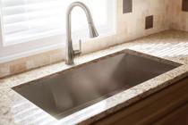"Franke Vector 33-7/16"" Dual Mount Single Basin 18 Gauge Stainless Steel Kitchen Sink - Sink Accessories Included"