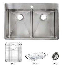 "Franke Vector 33-7/16"" Dual Mount Double Basin 18 Gauge Stainless Steel Kitchen Sink - Sink Accessories Included"