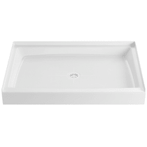 """PROFLO 48"""" x 32"""" Single Curb Slip Resistant Shower Pan for Alcove Installations (Strainer Included)"""