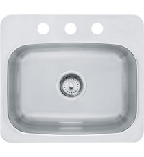 """Franke Axis 19 1/8"""" Single Basin Undermount/Drop In Stainless Steel Kitchen Sink with Three Faucet Holes from Home Collection"""