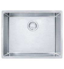 """Franke Cube 24 5/8"""" Single Bowl Undermount Stainless Steel Kitchen Sink in Pearl with Bottom Grid"""