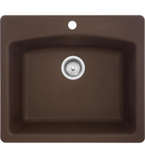 """Franke Ellipse 25"""" Single Basin Undermount/Drop In Granite Kitchen Sink from Home Collection With Finish: Mocha"""