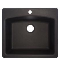 "Franke Ellipse 25"" Single Basin Undermount/Drop In Granite Kitchen Sink Onyx"