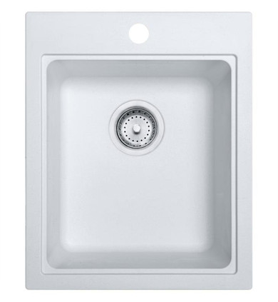 """Franke Quantum 16 3/4"""" Single Basin Undermount/Drop In Granite Kitchen Sink in Fragranite Pure White from Home Collection"""