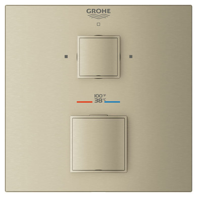 Grohe Grohtherm Dual Function Thermostatic Valve Trim Only with Double Knob Handles, Integrated Diverter, and Volume Control - Less Rough In