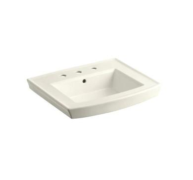 """Kohler Archer 24"""" Pedestal Bathroom Sink with 3 Holes Drilled and Overflow"""