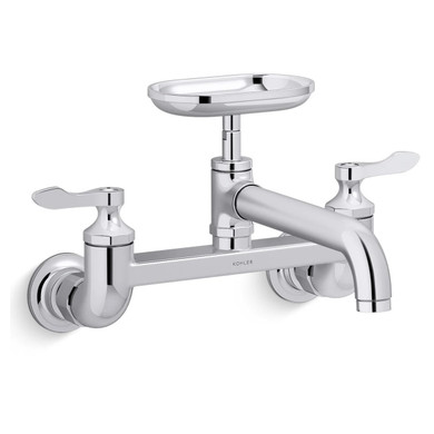 Kohler Clearwater 1.8 GPM Wall Mounted Widespread Bridge Kitchen Faucet - Includes Soap Dish