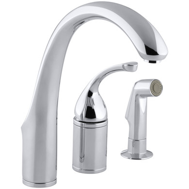 """Kohler Forte 3-Hole Remote Valve Kitchen Sink Faucet with 9"""" Spout and Sidespray"""