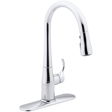 """Kohler Simplice Single-Hole or Three-Hole Kitchen Sink Faucet with 15-3/8"""" Pull-Down Spout, DockNetik Magnetic Docking System, and a 3-Function Sprayhead  Featuring Sweep Spray"""