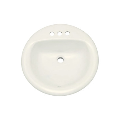 """PROFLO 19"""" Round Drop In Vitreous China Sink with 3 Holes and Front Overlow"""