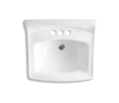 """Kohler Greenwich 20-3/4"""" x 18-1/4"""" Wall-mount Concealed Arm Carrier Bathroom Sink with 4"""" Centerset Faucet Holes and No Overflow"""