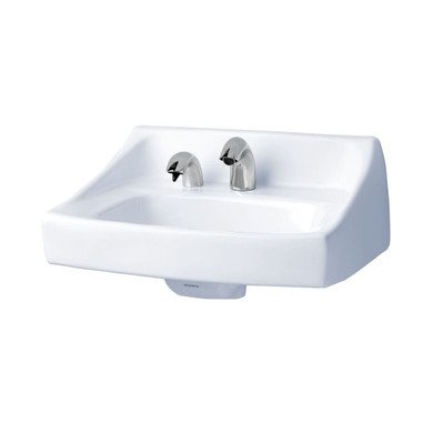 """TOTO 21"""" Wall Mounted Bathroom Sink with Two Faucet Holes Drilled and Overflow"""