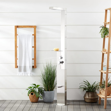 Signature Hardware Woodgate Freestanding Stainless Steel Thermostatic Outdoor Shower Panel with Shower Head, Foot Shower, and Shelf