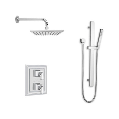 American Standard  Town Square S Thermostatic Shower System with Shower Head, Hand Shower, Slide Bar, Shower Arm, Hose, Wall Supply Elbow, Diverter, and Valve Trim