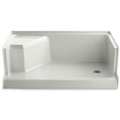 """Kohler Memoirs 60"""" Shower Pan with Integral Seat and Right Drain"""
