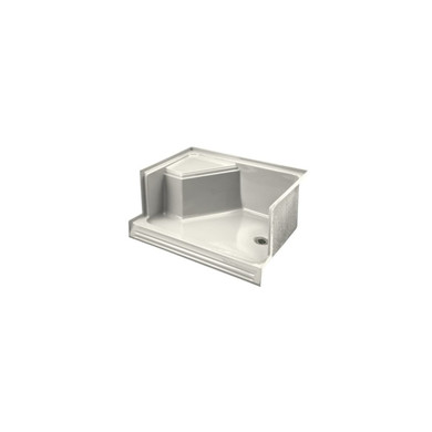 """Kohler Memoirs 48"""" shower receptor with integral seat at left and right-hand drain"""