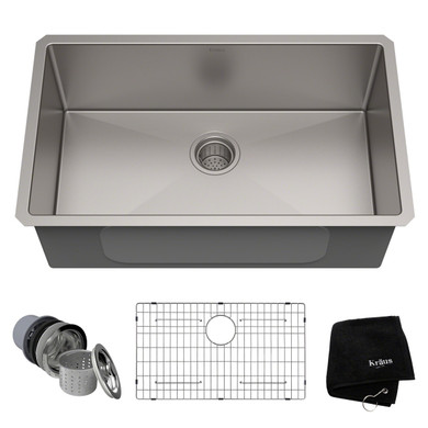 """Kraus 30"""" Single Basin 16 Gauge Stainless Steel Kitchen Sink for Undermount Installations - Basin Rack and Basket Strainer Included"""