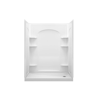 """Sterling Ensemble 60"""" L x 30"""" W Vikrell Shower Enclosure with Right Hand Drain and Age in Place Backers"""