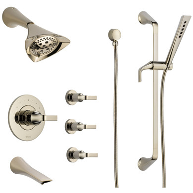 Brizo Sensori Custom Thermostatic Shower System with Showerhead, Volume Controls, Hand Shower, and Tub Spout  Valves Included