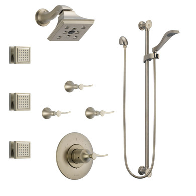 Brizo Sensori Custom Thermostatic Shower System with Showerhead, Volume Controls, Body Sprays, and Hand Shower -   Valves Included