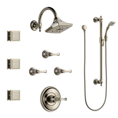 Brizo Sensori  Custom Thermostatic Shower System with Showerhead, Volume Controls, Body Sprays, and Hand Shower - Valves Included in Polished Nickel