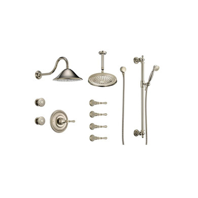 Brizo  Sensori Custom Thermostatic Shower System with Wall and Ceiling Showerhead, Volume Controls, Body Sprays, and Hand Shower - Valves Included