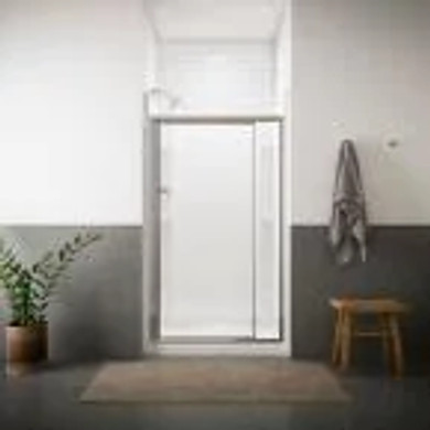 """Framed pivot shower door, 69"""" H x 36 - 42"""" W, with 1/8"""" thick Pebbled glass"""