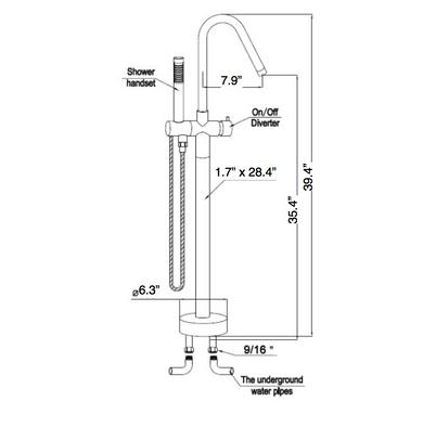 Royal Miami Freestanding Tub Filler Faucet & Handshower Chrome