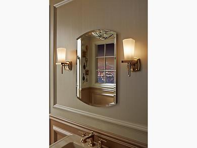 "Kohler Archer® 20"" W x 31"" H aluminum single-door medicine cabinet, beveled edges"