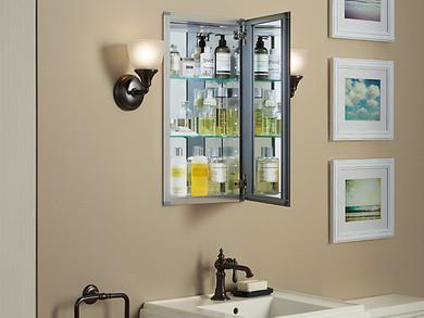 """Kohler 15"""" W x 26"""" H aluminum single-door medicine cabinet with mirrored door, beveled edges"""