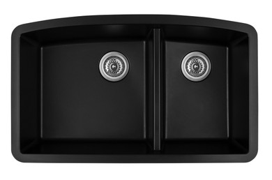 "Karran Double Bowl Undermount Kitchen Sink Black Finish 32-1/2"" x 19-1/2"""