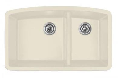 """Karran Double Bowl Undermount Kitchen Sink Bisque Finish 32-1/2"""" x 19-1/2"""""""