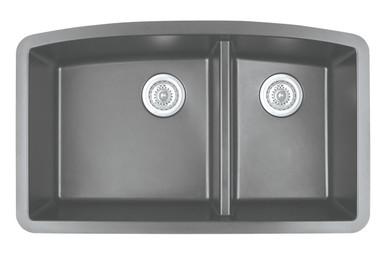 "Karran Double Bowl Undermount Kitchen Sink Grey Finish 32-1/2"" x 19-1/2"""