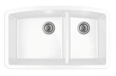 """Karran Double Bowl Undermount Kitchen Sink White Finish 32-1/2"""" x 19-1/2"""""""