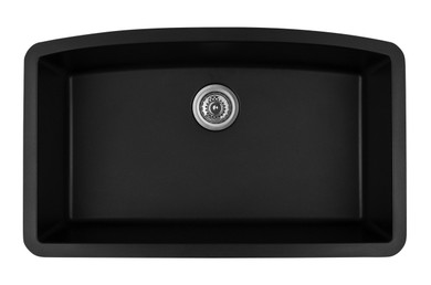 "Karran Extra Large Single Bowl Undermount Kitchen Sink Black Finish 32-1/2"" x 19-1/2"""