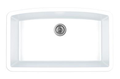 "Karran Extra Large Single Bowl Undermount Kitchen Sink White Finish 32-1/2"" x 19-1/2"""